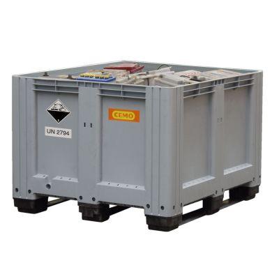 Contenedor para baterías desechadas 610 l, gris, con 3 patines de apoyo